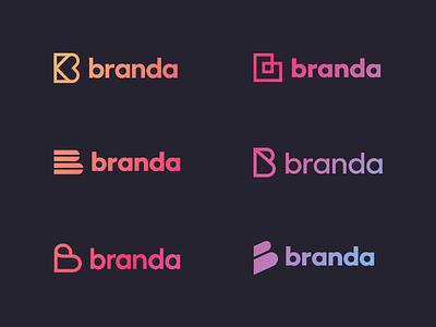 Branda logo exploration gradient icon logotype b logo letter b identity typography unfold logo concept logo exploration branda branding mark logo design
