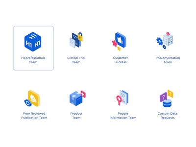 H1 Mini Illos 3d icon set iconography illos ui web interface product blue unfold branding isometric illustrations icons