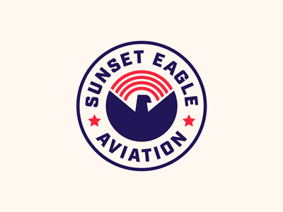 Sunset Eagle Aviation emblem aviators aviation eagle sunset unfold illustration icon mark branding badge logo badge logo design