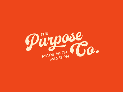 Purpose Co. colors charity passion purpose identity unfold logotype calligraphy typography branding script logo design
