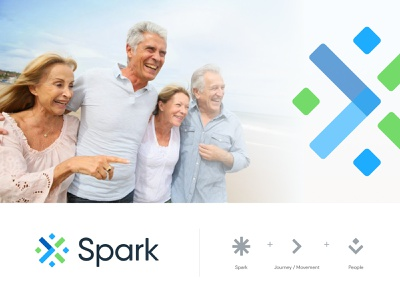 Spark logo logo concept color palette wellness seniors care journey spark logotype unfold typography icon identity branding mark logo