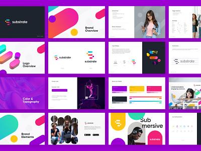Substrate brandbook visual identity icon mark logotype identity logo design unfold typography illustration style guide brand guidelines brandbook branding