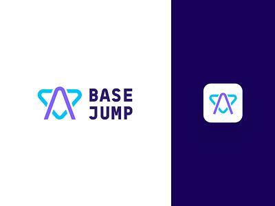 Base jump logo modern logo sport extreme fly skydiving base jump unfold typography identity logotype mark branding logo design