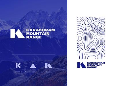Karakoram Mountain Range logo concept icon k2 national park range karakoram identity mountain topography logotype unfold typography mark branding logo design