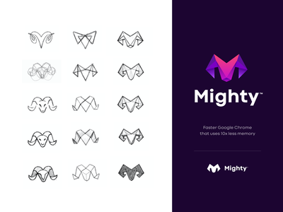 Mighty logo design drawing sketches browser chrome memory illustration ram mightyapp mighty app identity unfold mark typography logotype branding logo design