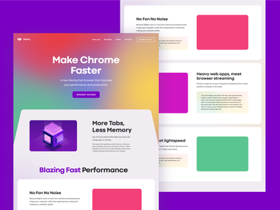 Website wireframe mighty fast memory browser unfold ui  ux faster tab app chrome exploration colors prototype wireframe web design