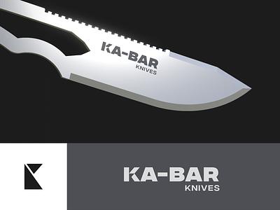 Ka-bar logo redesign! sport outdoor military hunting cut type identity logotype mark unfold typography branding logo redesign logodesign knife logo knife