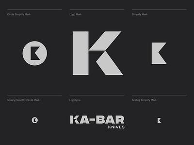 Ka-bar logo concept letter k logo outdoor hunting knife logo unfold typography branding logo system responsive logo identity mark logotype logo redesign logo concept