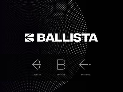 Ballista Logo shooting sport crossbow bow ballistic archery ballista logotype mark unfold typography branding logo design