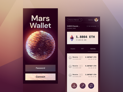 Mars Wallet transactions globe wallet unfold cryptocurrency crypto planet ui mars app design mobile design