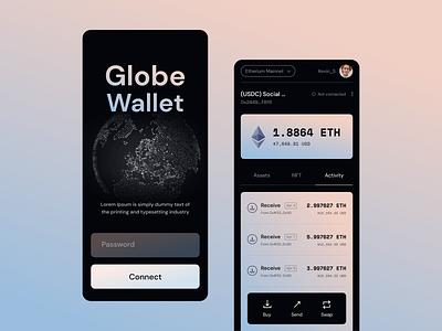 Globe Wallet mobile layout transaction money blockchain ethereum exploration unfold globe wallet crypto app design mobile design