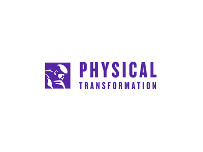 Physical Transformation logo concept physical body transformation grow thin bodybuilding slimming science logotype typography unfold rodin thinker thinker coaching health body physical transformation logo concept logo design