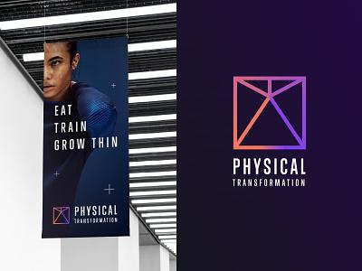 Physical Transformation rebrand mark typography modern logotype body health unfold sport brand identity branding logo design training slimming physical transformation physical