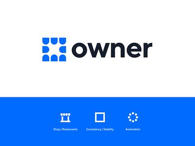Owner Logo Concept online minimal logo exploration tool owner food restaurant automation marketing type unfold logo mark modern clean branding identity logo concept logo design