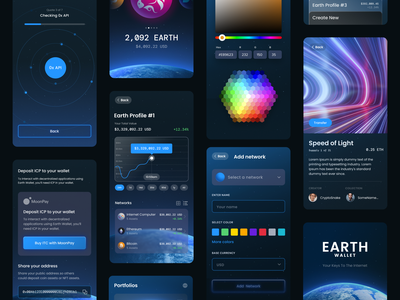 Earth Wallet UI nfts crypto web app earth glow space app design internet computer bitcoin ethereum blockchain wallet crypto wallet unfold mobile design earth wallet ui design