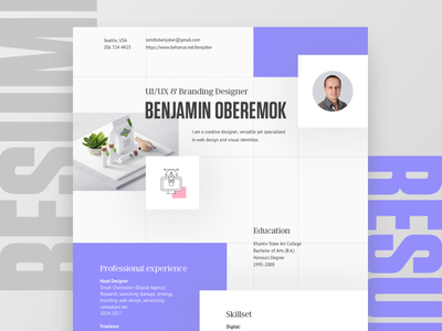 My personal resume clean resume us letter modern resume creative resume cover letter layout typography seattle professional design curriculum vitae job brochure print portfolio personal cv resume