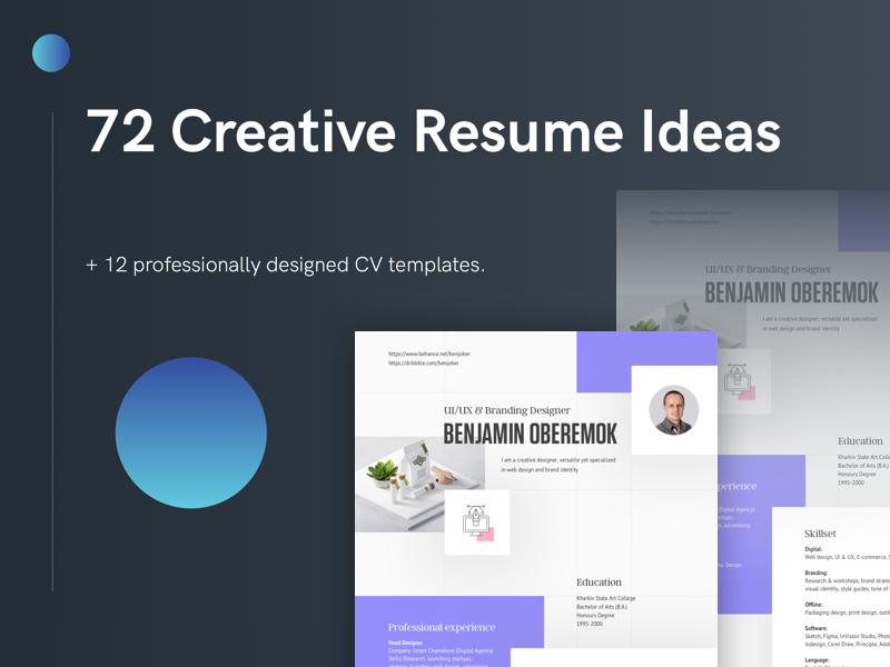 72 Creative Resume Ideas By Benjamin Oberemok On Dribbble