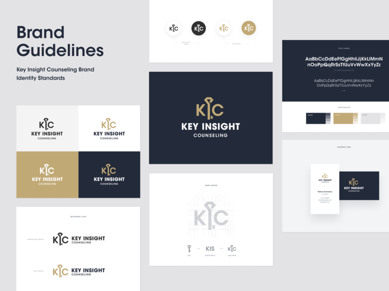 Key Insight Counseling Brand Guide logotype mark key clean color palette brand agency typography logo design brand guideline brand guide brand identity branding