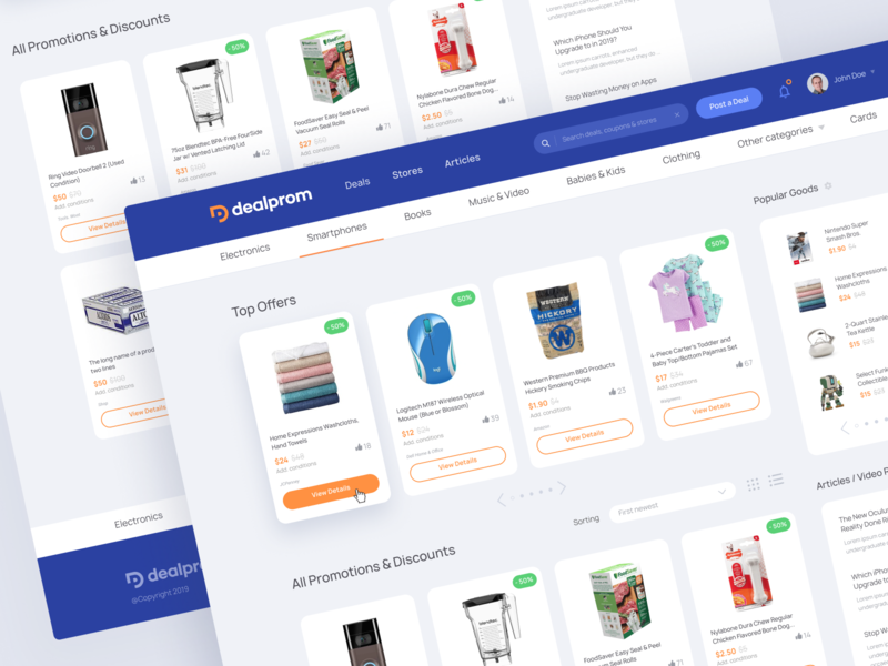 Dealprom Web Design store shop interface app unfold web application type vector deal homepage design layouts ux ui clean typography design web design
