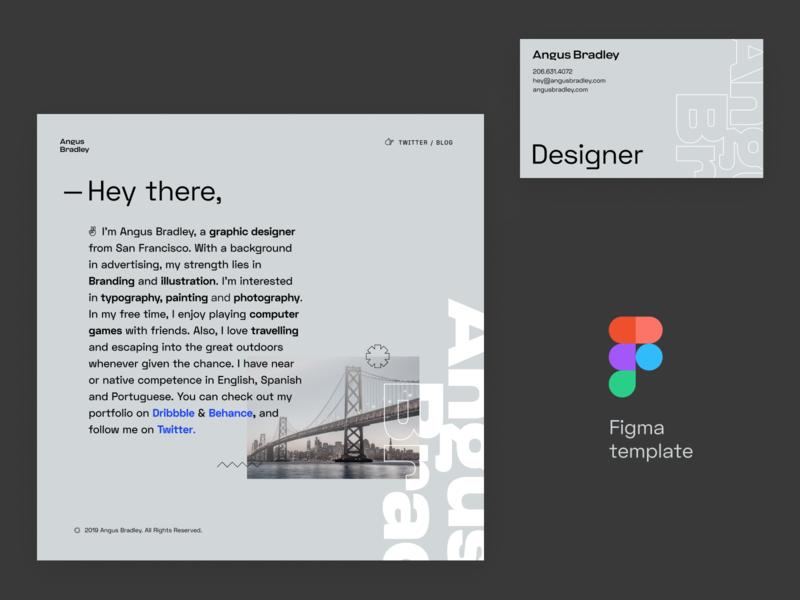 Free Web Design & Business Card Template clean branding designer unfold figma typography business card one page web design free freebies template design