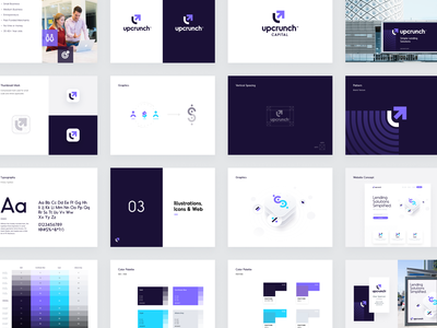 UpCrunch BrandBook unfold ui typography style guide mark manual identity system design system color palette clean branding brand identity design brand guidelines brand guide brandbook brand