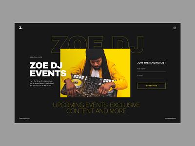 Landing Page Template DJ unfold ux ui black yellow dark theme websites type dj music template typography web design landing page
