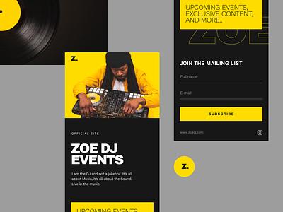 Template DJ mobile landing dark theme black yellow dj music template unfold typography ux ui mobile design web design landing page