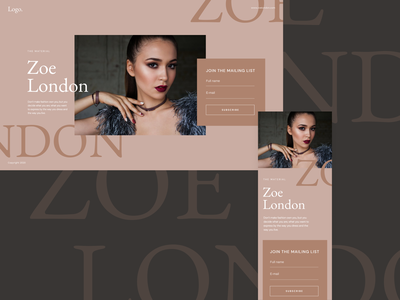 Landing Page Template type landing design unfold fashion blogger fashion design landing page ui  ux typography webdesign template