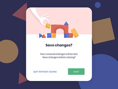 Save Changes Pop-up dailyui blocks webdesign playful colorful save edit popup pop-up web illustration ui illustration