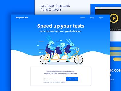 Knapsack Pro Landing Page bike homepage landing design animals ui ux app web vector flat illustration