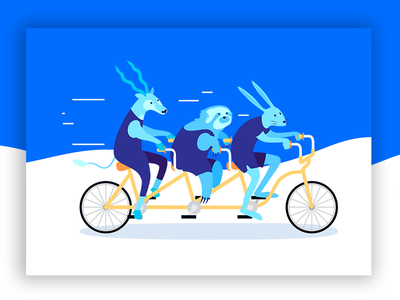 Knapsack Illustration parallel fast branding vector blue cute flat illustration design bike animals