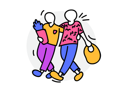 Couple Shopping funky groceries hipsters people walking shopping couple creative colorful flat outline illustration
