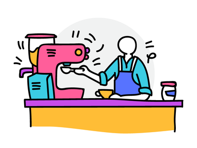 Barista character design coffee house cafe funky cute service coffee barista outline flat colorful illustration