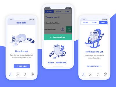 Nomaste App - Raccoon Illustrations app to do mobile raccoon empty states ui app design branding flat illustration