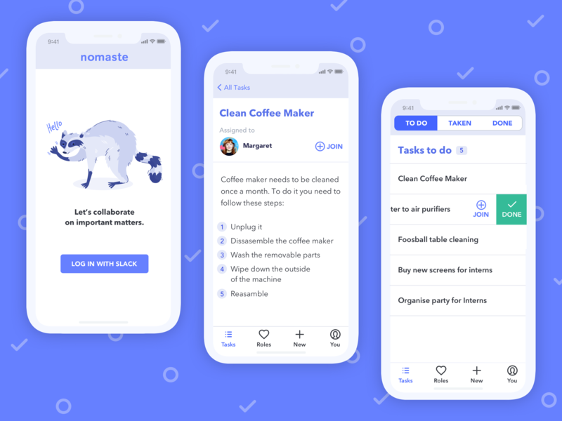 Nomaste App to do app raccoon app design ui mobile dashboard list ui to do mobile app