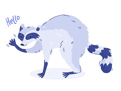Say Hi! cute animal character design raccoon animal illustration vector illustration illustration