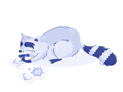 Drawing Raccoon web illustration hobby drawing character design raccoon animal illustration vector illustration