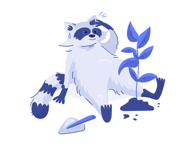 Raccoon after hard day of work brand illustration character design done finished cute animal raccoon web illustration vector illustration