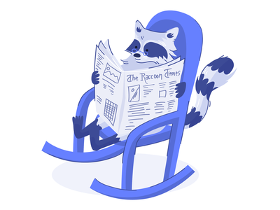 The Raccoon Times character design rocking chair reading newspaper relax web illustration animal raccoon vector flat illustration