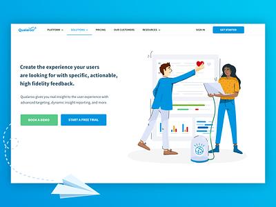 Qualaroo Illustrations team work scientists ui product illustration web illustration character design feedback hero image homepage design character vector illustration