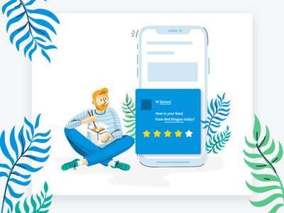 Qualaroo Illustrations rating homepage vector characterdesign food eating illustration feedback mobile ui mobile illustration
