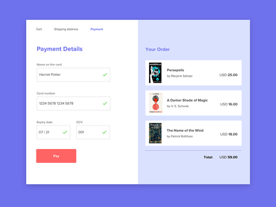 Card Checkout form design simple ui bookstore dailyui dailyui 002 payment shopping cart checkout cart ui