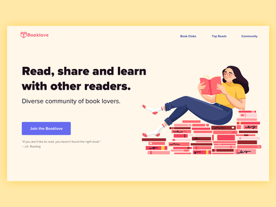 Book Club Landing Page community colorful landing page reading character design ui web illustration hero image book club homepage illustration