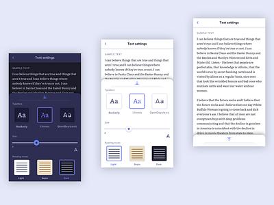 eReader Settings dark mode product design clean ui reading app ereader mobile app settings dailyui ux ui