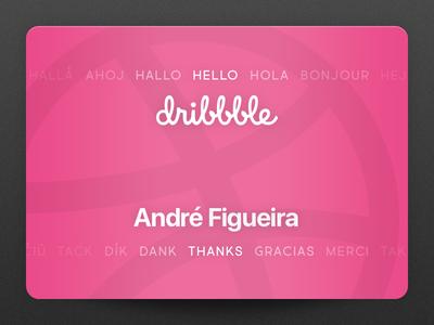 Hello, Dribbble card pink hello debut