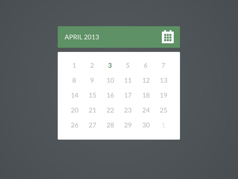 Flat Calendar flat calendar ui ux flat design design simple minimalist