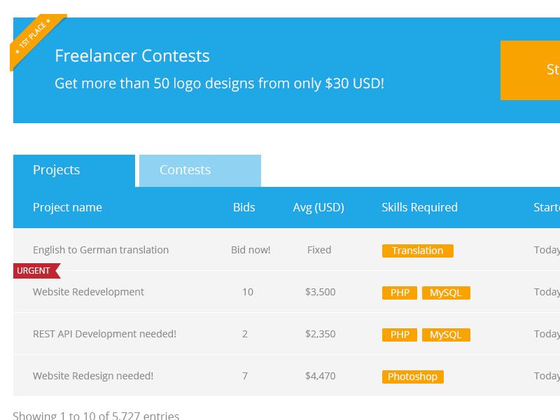 Freelancer.com redesign redesign freelancer flat ui ux