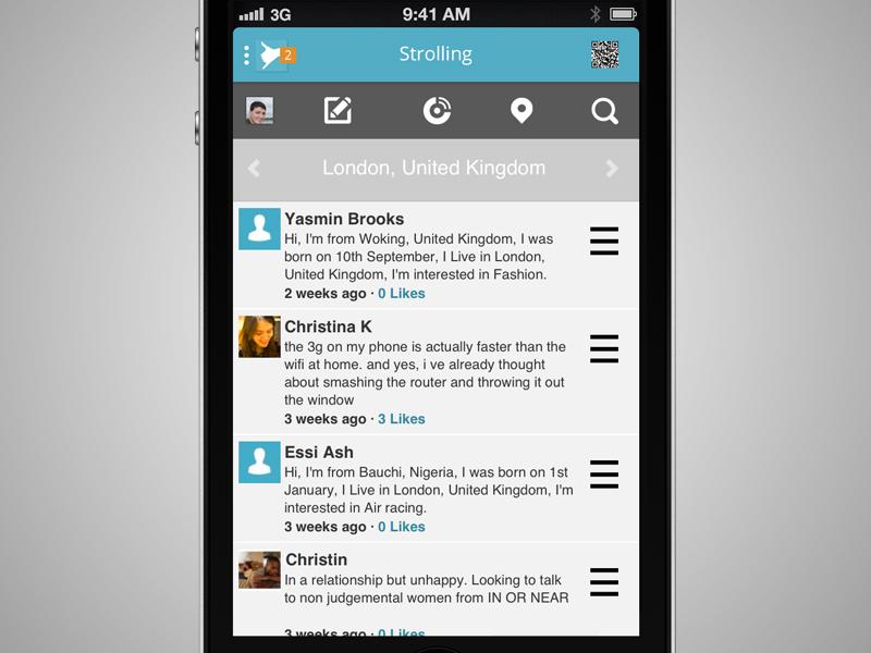 Social Network App social network ios ux ui design flat