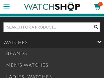 Watchshop Mobile Redesign black dark nav responsive redesign design ecommerce watchshop