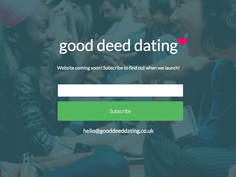 GoodDeedDating Holding dark dating email newsletter holding page
